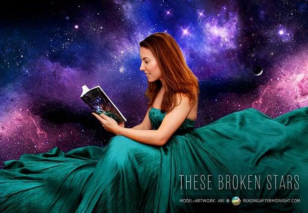 Ari reading These Broken Stars